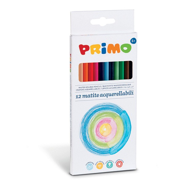 Water-soluble coloured pencils 12 triangular